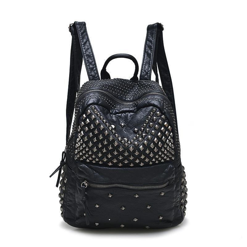 2021 Nuevas mochilas de moda Mochilas lavadas Mochilas de cuero Lady Girls Travel Woms Bags Rivet Student School Bag Hot
