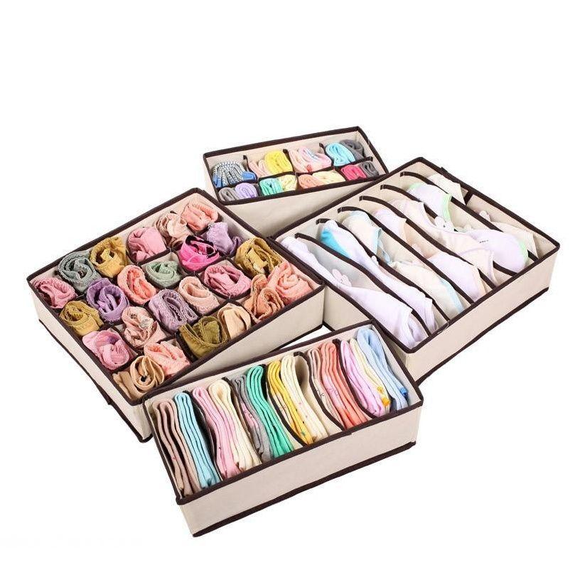 Caixas de rosas bege dobrável para roupa interior sutiã meias amarra lingerie organizador divisor guarda-roupa Tidy Caixa desktop STO SQCBEI WWPHME