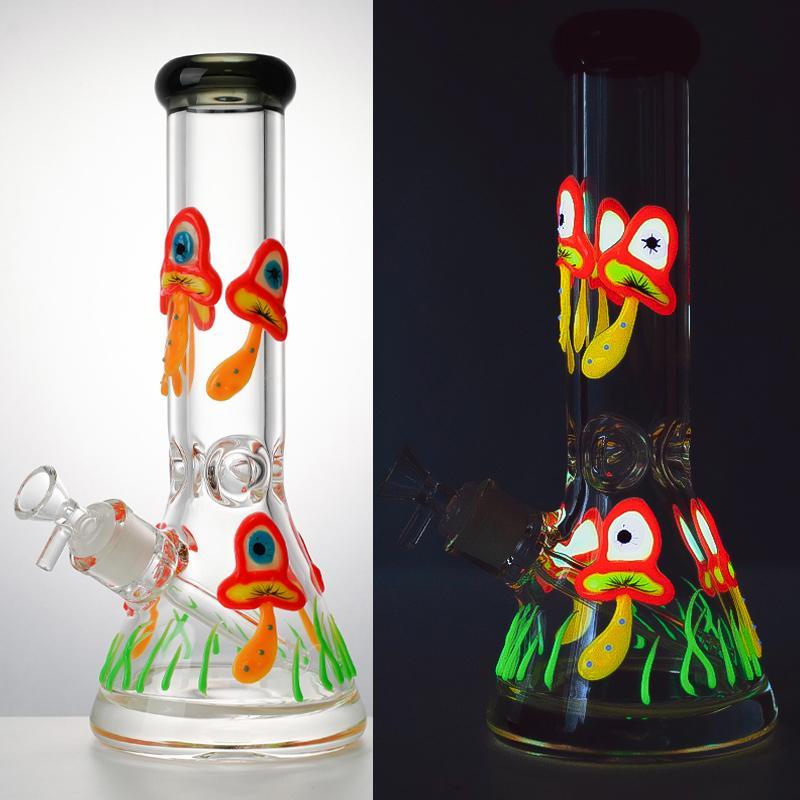 12 polegadas Bondos de vidro inebriçoso brilho no petróleo escuro Dab Rigs 18mm feminino grande beaker bongo straight perc canal de água cogumelo difusado