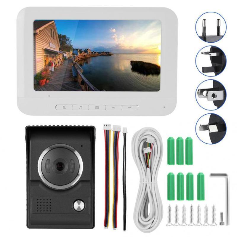 7-Zoll-IR-TFT-LCD Farb HD Video Intercom-Monitor-Überwachungstürklingel 100-240V Monitor-Türklingel