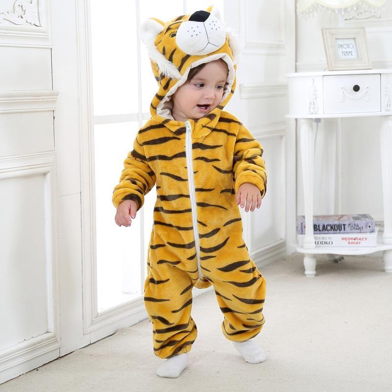 Детские Зимние Ромпер Теплый комбинезон ребёнки мальчиков Одежда для животных Костюм с капюшоном для новорожденных малышей Пижамы Комбинезоны Одежда Новая