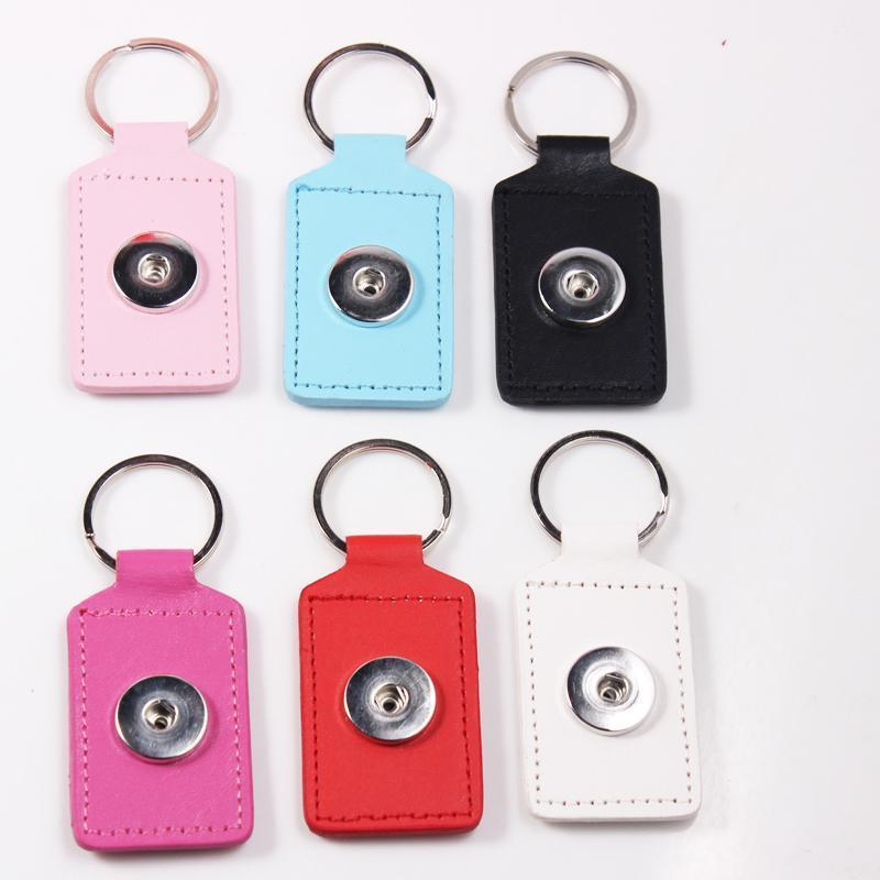 12pcs Colorful Pu Leather Key Chains Rectangle Pendant Keyring Keychain Fit 18mm Snap Button Bag Charms Women Fashion Jewelry