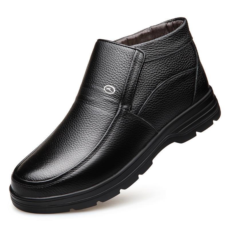 Caliente la venta caliente genuina botas de cuero para hombre de los zapatos de los zapatos de la nieve del invierno botas para hombre del trabajo de la manera calzado de goma del tobillo botas al aire libre de los zapatos ocasionales f
