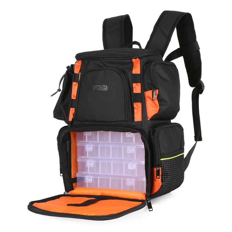 Lixada Рыбалка Рюкзак Водонепроницаемый рыболовный приманки катушки сумки регулируемые ремни рыбы снасти хранения сумка + рыболовные снасти