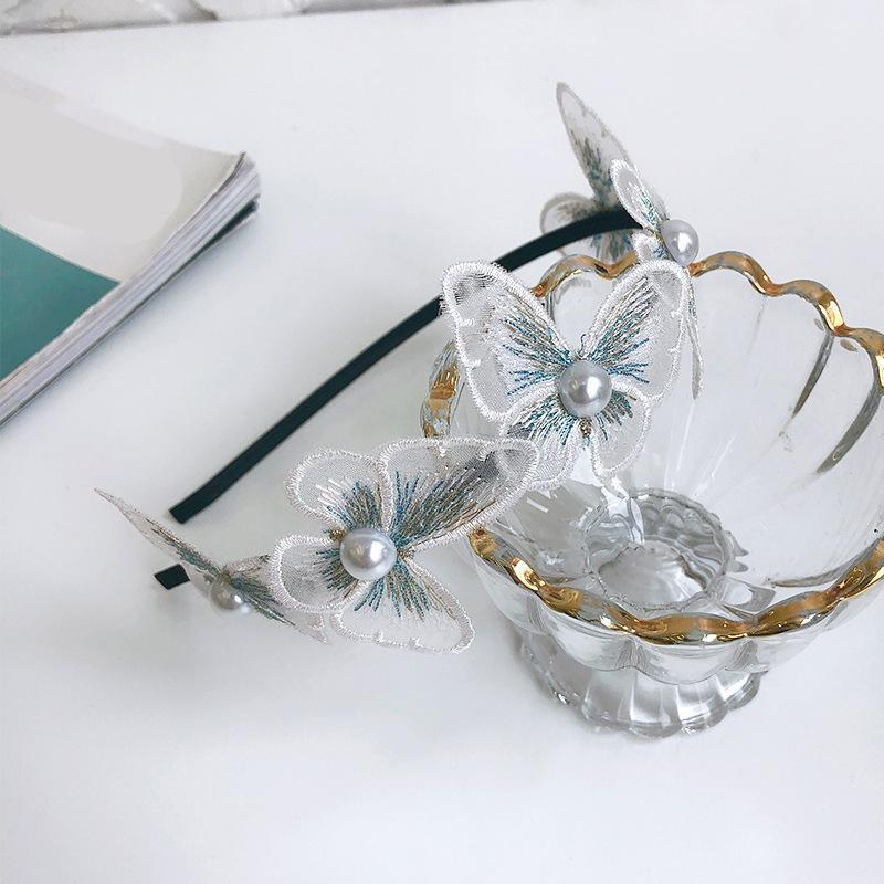 Perlas coreanas cabeza aro retro francés hairband encaje malla mariposa pelo aro chicas elegantes bandas de pelo aro diadema pelo joyería q wmggg