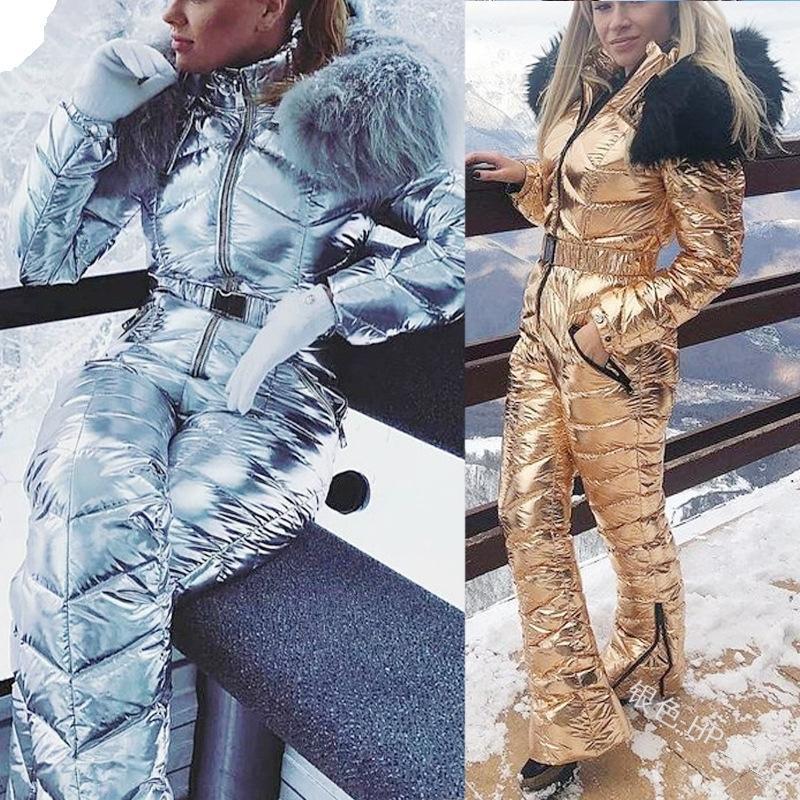 Новый блестящий серебряный золотой цельные лыжные женщины водонепроницаемый ветрозащитный лыжный комбинезон сноуборд костюм женские костюмы
