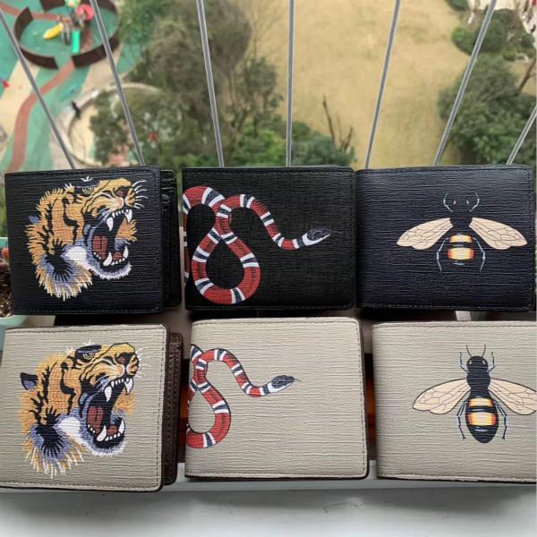 Hombres de alta calidad para hombres Cuero corto de cuero Black Snake Tiger Bee Barlets Mujeres Monedero de estilo largo monedero Titulares de tarjetas con caja de regalo