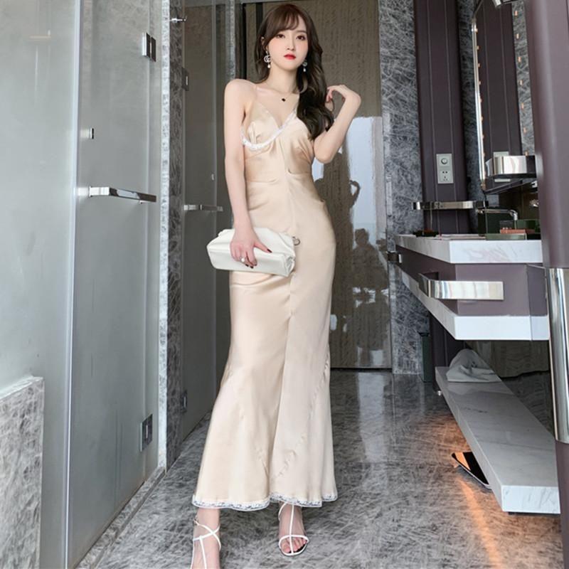 2020 vestidos de verão do laço do vintage dos retalhos de seda vestido de mulher Bodycon Ladies Spaghetti Strap maxi vestido elegante elegante Partido Sexy