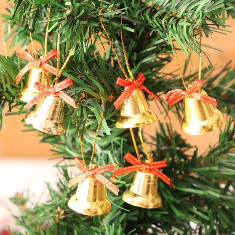 Christmas Decorations 6pcs/set Decor Tree Pendant 3CM Gold Small Bell Bow Jingle Ornaments