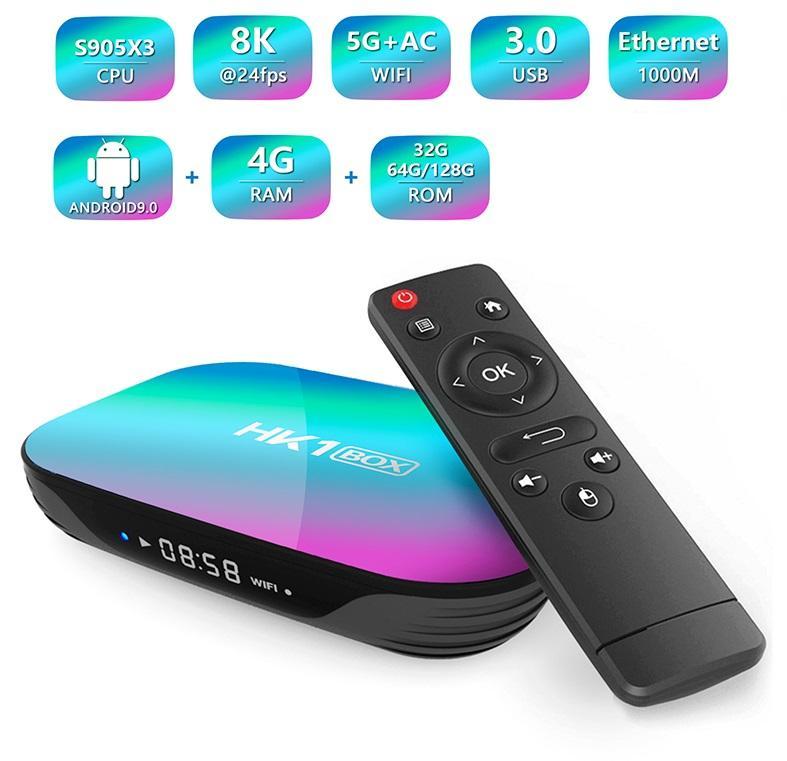 1 pièce HK1 Android 9.0 TV Boîte AMLOGIC S905X3 4GB + 32GB 8K Caja de TV Android Dual WiFi 2.4G + 5G PK X96 H96