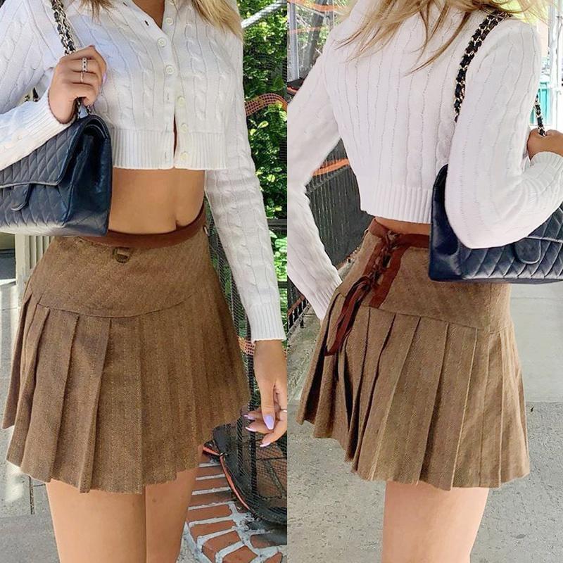 Kili Fashion Pleated Skirts for Womens Preppy Style High Waist Casual Mini Skirt Woman Autumn Streetwear