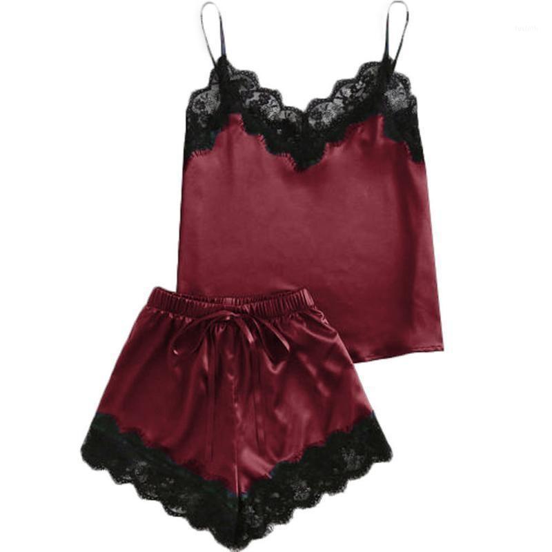 Mulher elegante lingerie lingerie nightdress verão pijama conjunto sexy laço cetim babydoll sleepwear1 effd