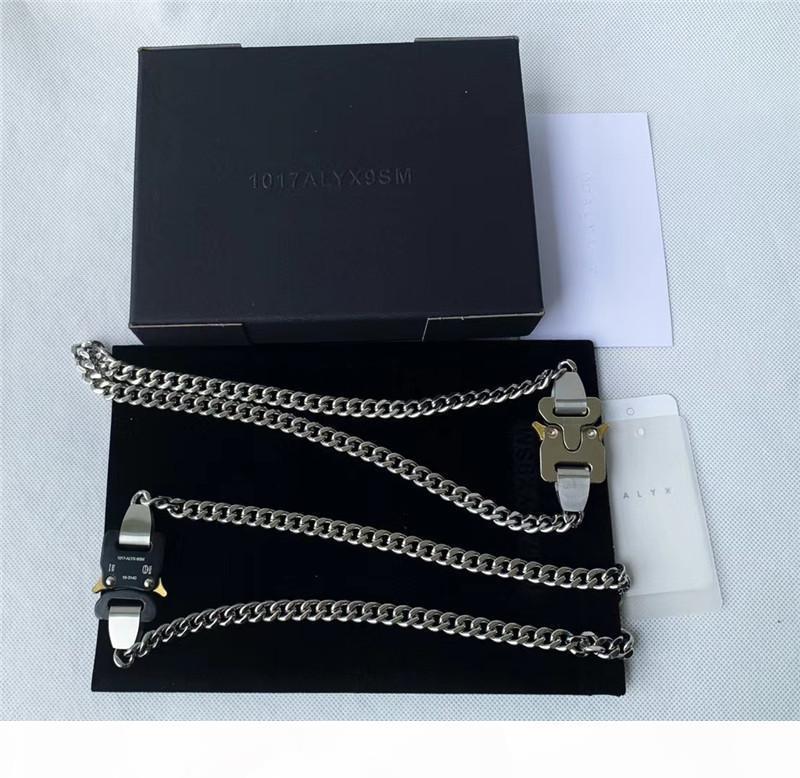 2020SS Colliers Alyx Hommes Femmes Meilleures Qualité 1017 Alyx 9sm Collier Chaîne Chaîne Boucle en métal