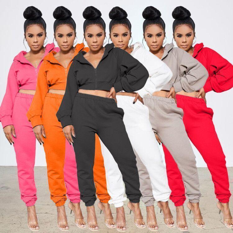Güz Bayan Hırka Ceket eşofman Kıyafetler 2 Adet Set Jogger Spor Suit Kazak Tayt Sportwear Bayanlar Fermuar Pantolon Suits Tops