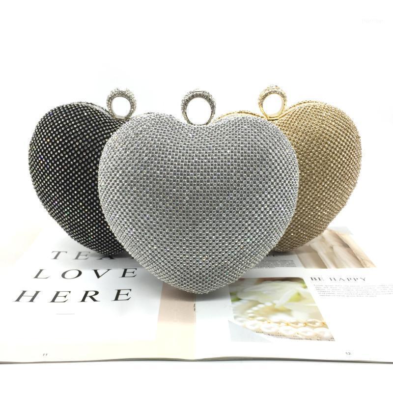 2020 New Gold Prata Crystal Mulheres Coração Metal Bandbag Saco De Noite Do Casamento Diamante Do Partido Nupcial Handbags Mulheres Dia Embreagem Bolsas1