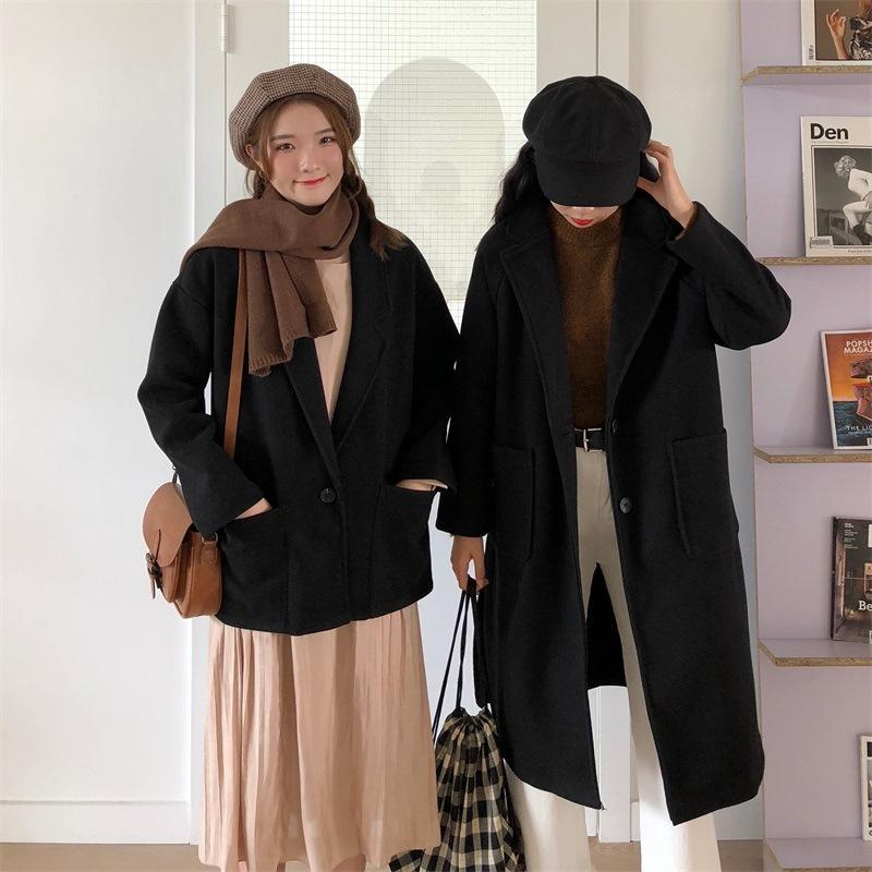 Automne en vrac Minceur mi-longs manches longues Veste Woollen femmes'S court Taille Woollen Overcoa Jacket -40