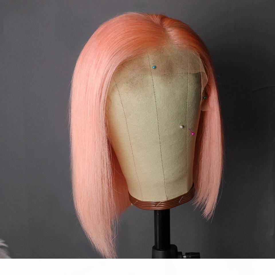 13x6 фронта шнурка парик Preplucked Короткие парики человеческих волос Бразильское Remy Розовый Боб парики для чернокожих женщин