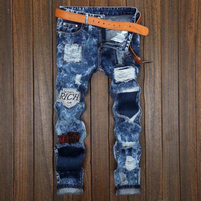 2D buracos e remendos calça jeans processo de lavagem homem floco atacado calças comércio exterior calça jeans transfronteiriças