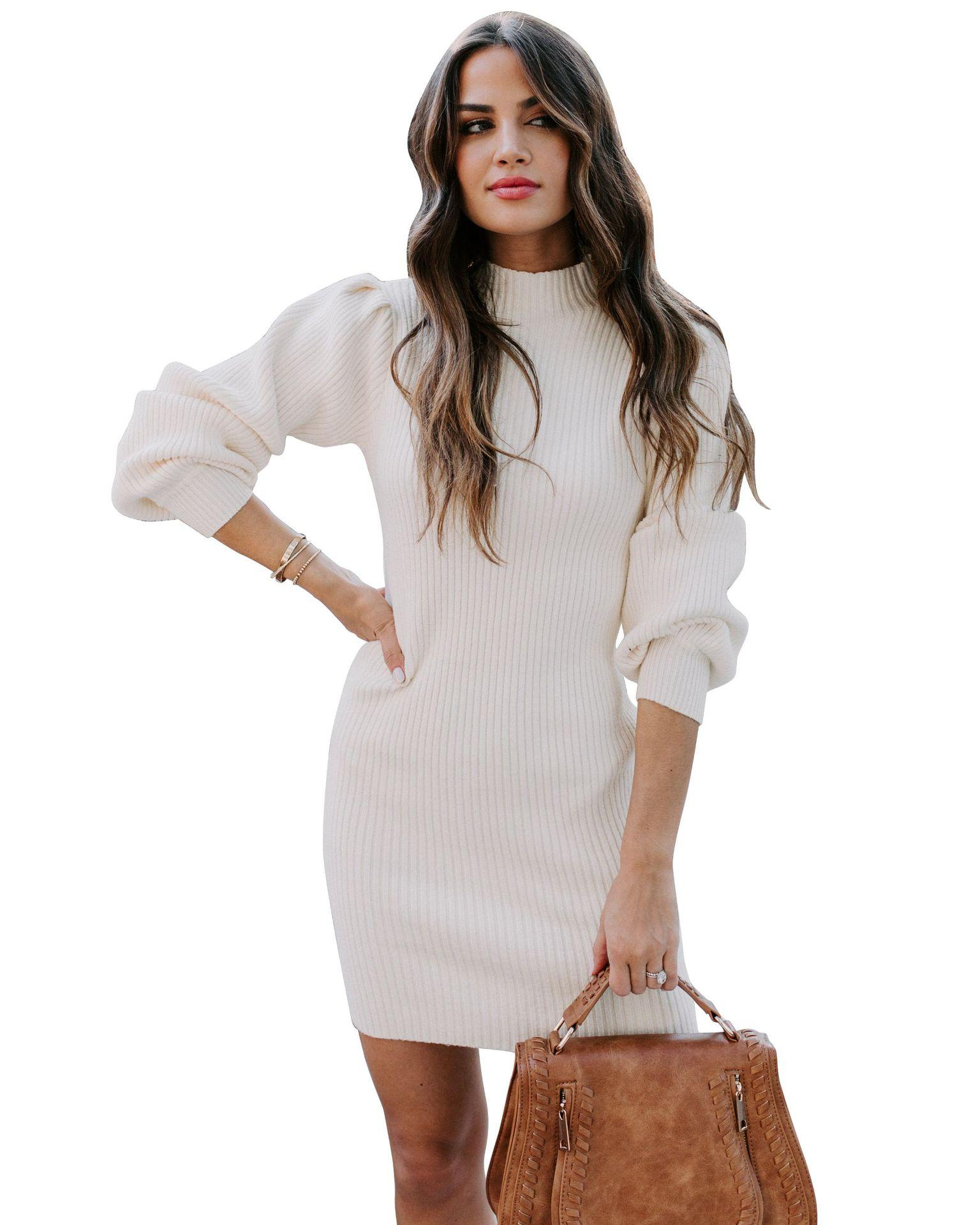 2021 европейские и американская мода осень высокой шея тонкие сексуальные утолщенной облегающим трикотажное платье свитера