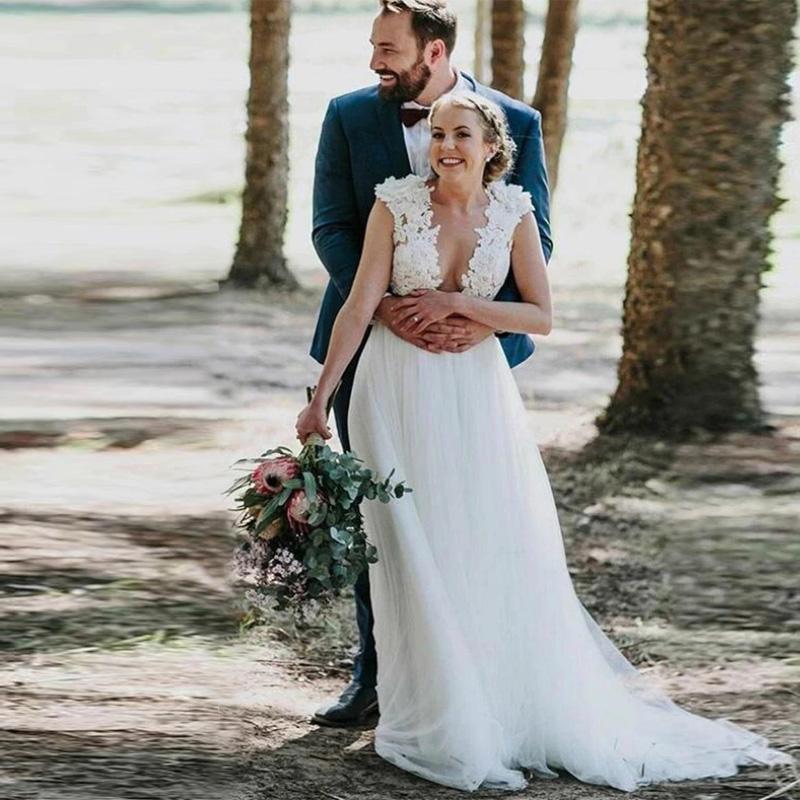 Branco Tulle Bohemian do casamento de praia Illusion Traje apliques de renda robe de soirée de mariage com flores A-Line 3D Vestidos de casamento Bride Dress