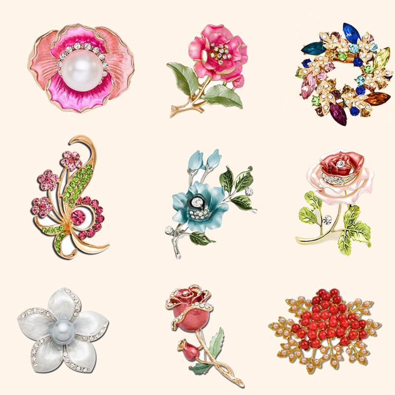 Дешевые Урожай Rhinestone женщина Свадебный цветок брошь Букет маков Кристалл Broches Pearl Протяжка шарф отворотом Хиджаб штыри ювелирных изделий