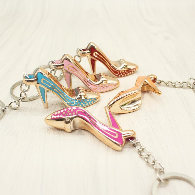 6 الكعوب العالية مختلفة الحلي المرأة حقيبة سحر سلسلة المفاتيح قلادة المحفظة سيارات حامل البسيطة الحذاء المفتاح الدائري الإبزيم المعلقة