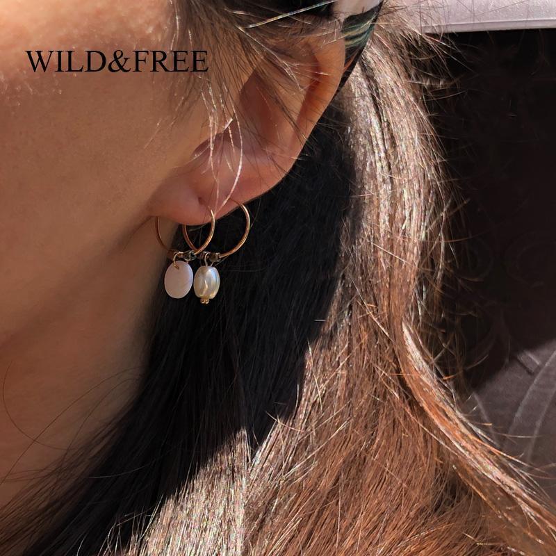 Hoop & Huggie Wild&Free Mini Gold Thin Circle Beaded Earrings For Women Handmade Round Shell Pearl Heart Pendant Hoops Piercing Jewelry