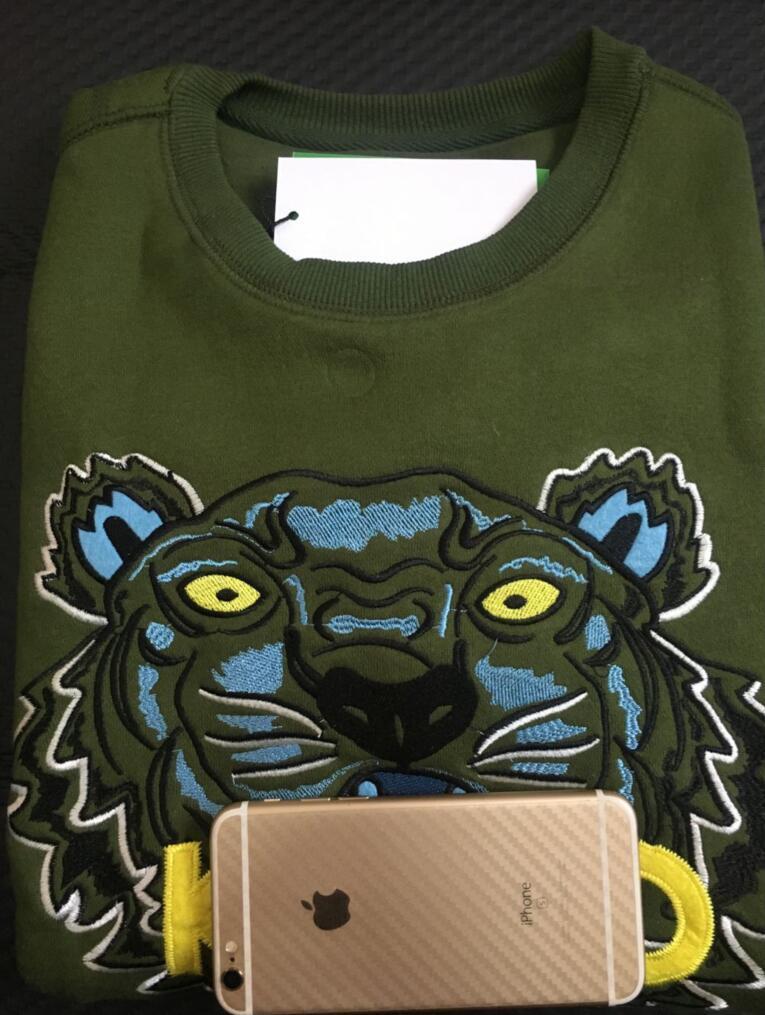 Мужские Женские вышивку головы тигра LOGO свитер бренд длинным рукавом O-образным вырезом Пуловер прыгуна sweatershirts толстовки куртки пальто 12 цветов зеленый