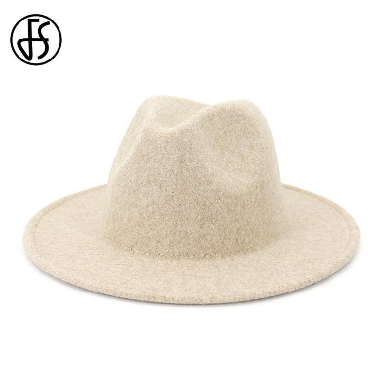 FS Beige White Wełniany Kapelusz Jazz Kobiety Mężczyźni Film Snap Brim Czapki Trilby Ladies Vintage Wool Panama Fedora Cloche Cap 201028