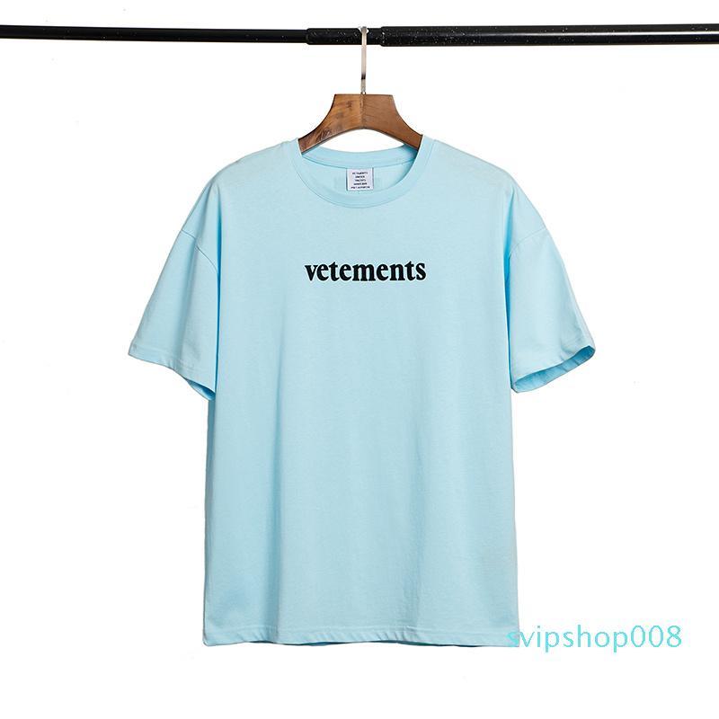 Vetementos Hombres Top Fashion SS20 Diseñador Llegada Calidad Nueva marca Marca camiseta Imprimir MANERA MANERA CORTO 202 BLRUS