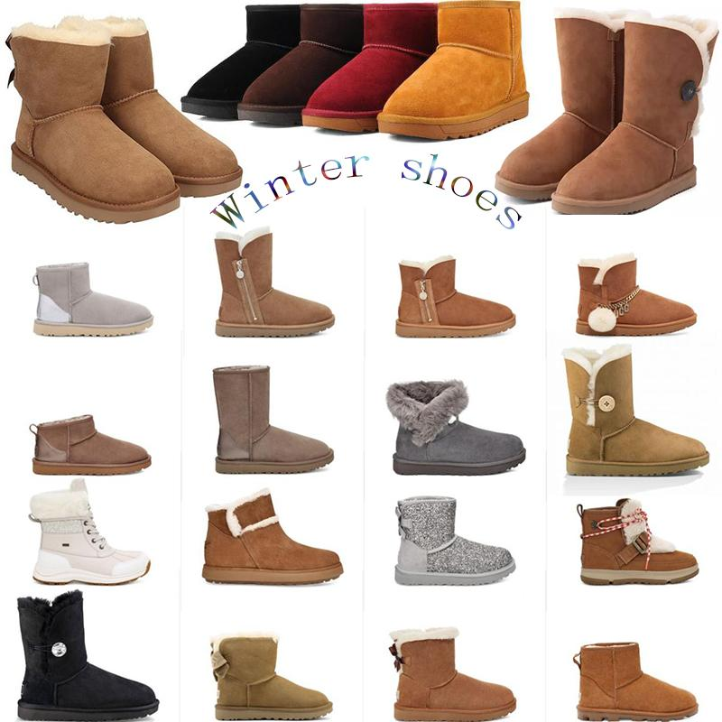Лучшие снежные сапоги женщины зимняя обувь кожаная лодыжка черного серая мужская женская ботинка девушка мода хлопчатобумажная обувь размер 36-41 с коробкой