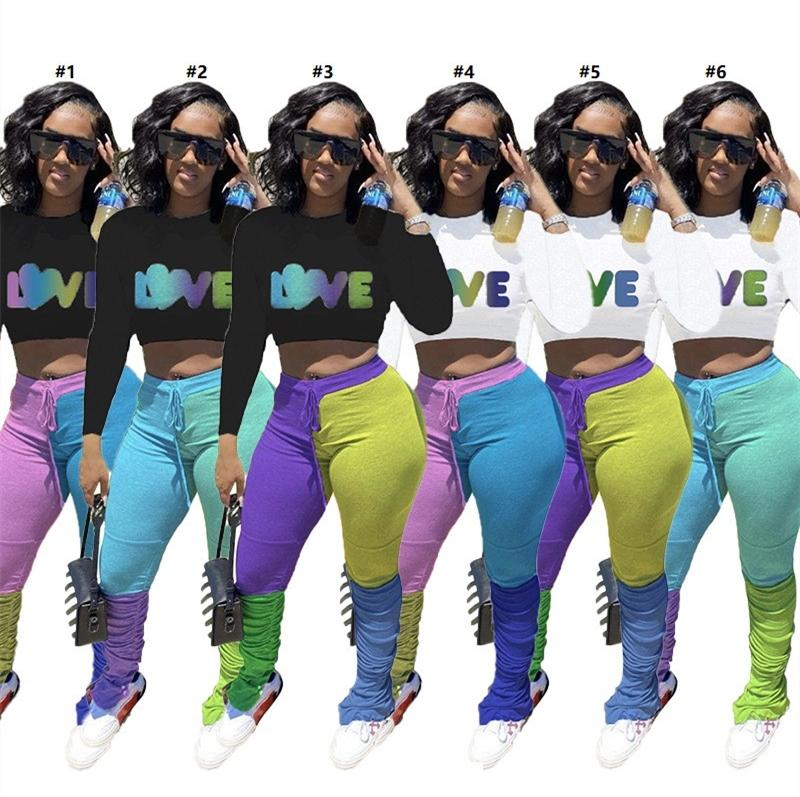 Plus Size Frauen Anzug Letters Liebe Langarm Sweatshirts Crop Tops Kontrast-Farben-Hose-Hosen Zwei Stücke Outfits Sport Anzug D102603