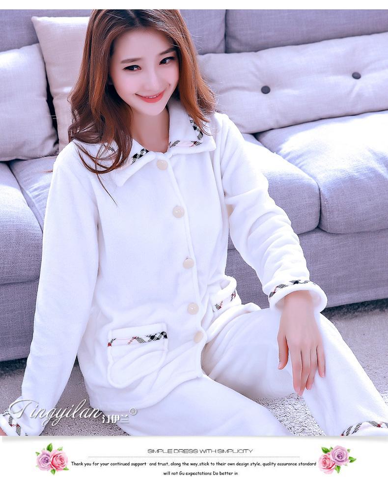 Frauen Flanell-Pyjamas Female Coral Fleece Pyjama Sets Mädchen Warm Nachtwäsche Velvet Lang-Hülse beiläufige Nightgown D-2100 C1115