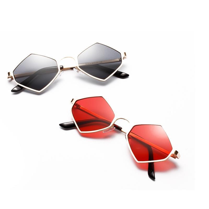 Lens Frame Hexagon Fashion UV400 Female Vintage Diamond Metal New Sun Women For Yellow Red Glasses Sunglasses Shade Moucl