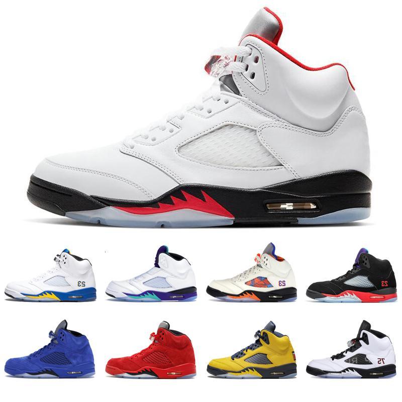 New Mens Basketball Shoes 5s Top 3 Fogo Vermelho Metálico Príncipe Fresco Michigan Vermelho Camurça Olímpica Pro Estrela 5 Homens Athletic Sports Sneakers