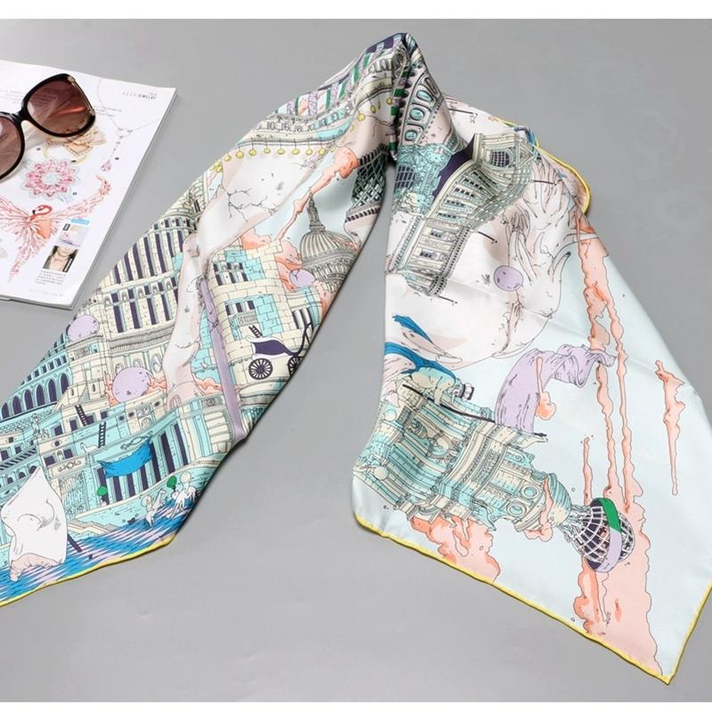 Château Prints 100% soie Foulard Châle Wraps Foulard pour femmes Printemps Mode Echarpes 201019