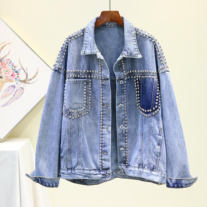 Старинные женские куртки 2020 осень зима джинсовые куртки мыть голубого заклепки джинсовые джинсы пальто.