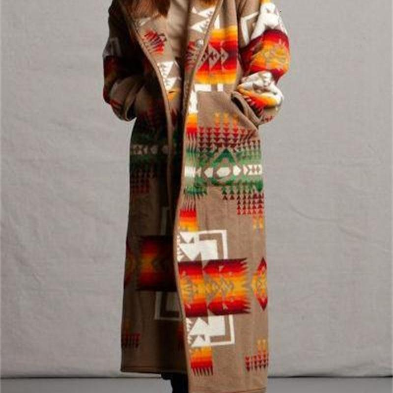 Webblel de manga larga de lana con capucha con capucha de lana larga mezclas de lana abrigo nuevo otoño invierno mujer a mitad de longitud impresa chaqueta