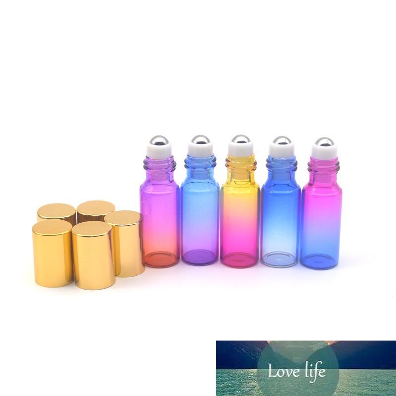 100pcs gradient Rouleau en verre coloré 5ml bouteille vide Huile Essentielle Parfum échantillon Rouleau sur bouteille bille de verre