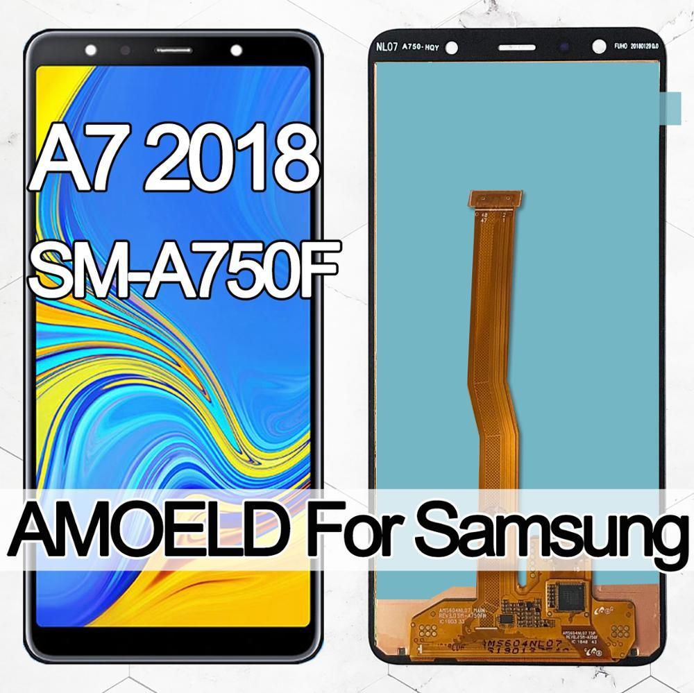 6.0'' Super AMOLED LCD For Samsung Galaxy A7 2018 A750 SM-A750F A750F lcd Display With Touch Screen Assembly Replacement Part