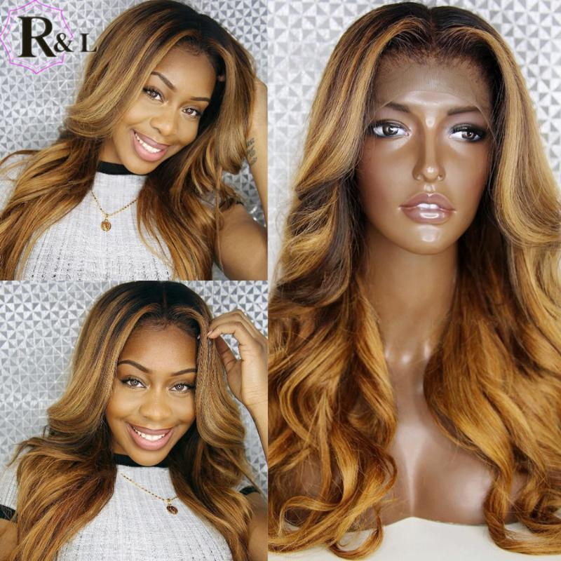 Rulinda выделение кузова волна кружева передние человеческие парики волос Оммре цвет бразильский T-часть ременные волосы кружевные парики