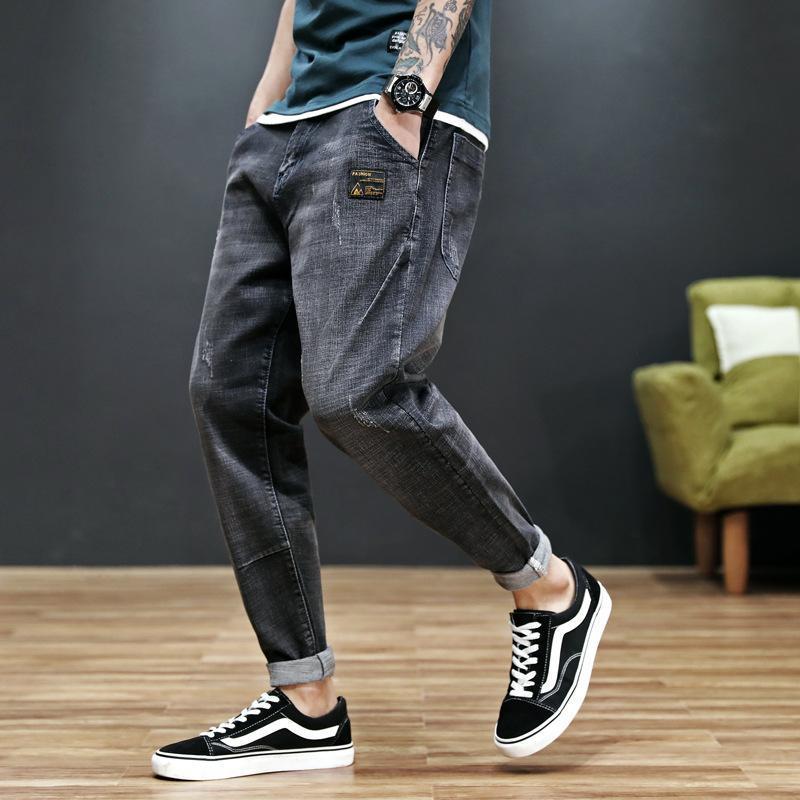 Sonbahar Jeans Erkekler Düz Gevşek Boys Trendy Günü Haren pantolon Erkekler rahat pantolon