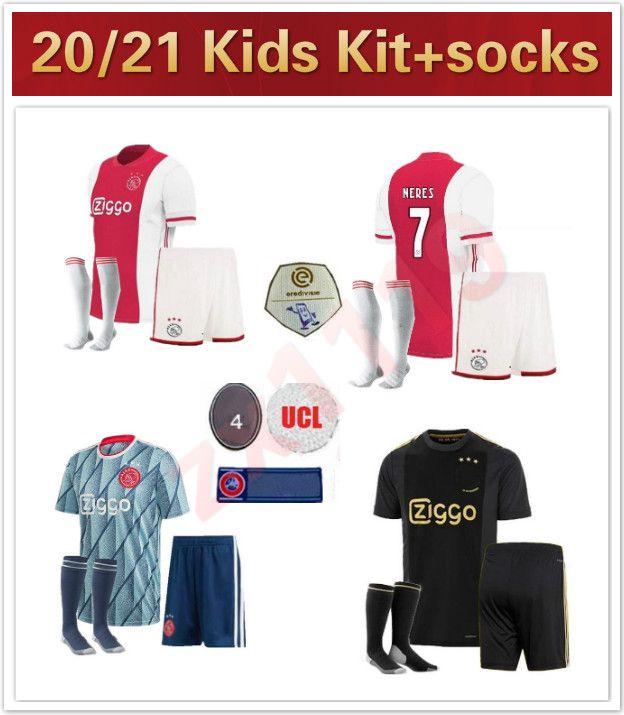 20 21 Ajax kits kits de futebol jersey home 3rd 2020 2021 Promes alvarez tadic neres ziyech beek futebol camisa juventude meninos completos conjuntos unifor