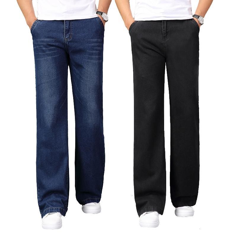 Erkek Geniş Bacak Uzun Kot Rahat Çan Mavi Kot Pantolon Adam Bootcut Jeans Pantolon Erkek Bahar Yeni 201111
