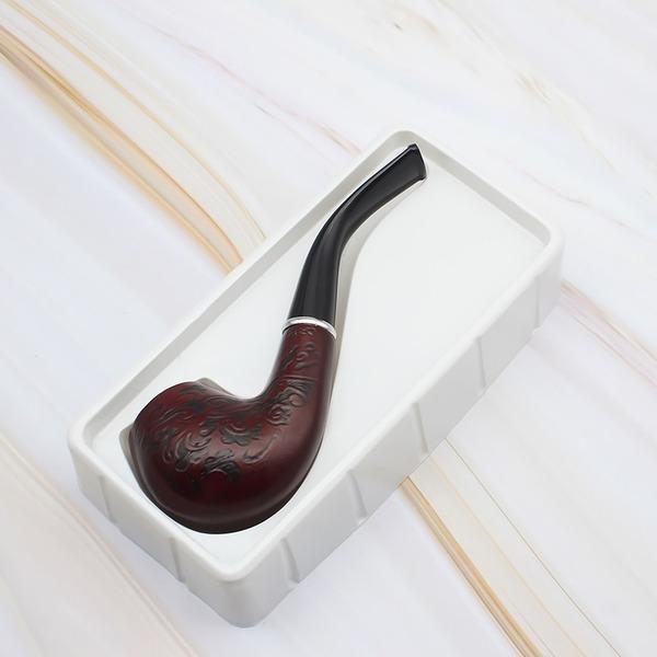 Rohrraucherpfeife rotes Muster 62g feine geschnitzte hölzerne Rohre, Massivholzrohre, waschbares Tabakrohr