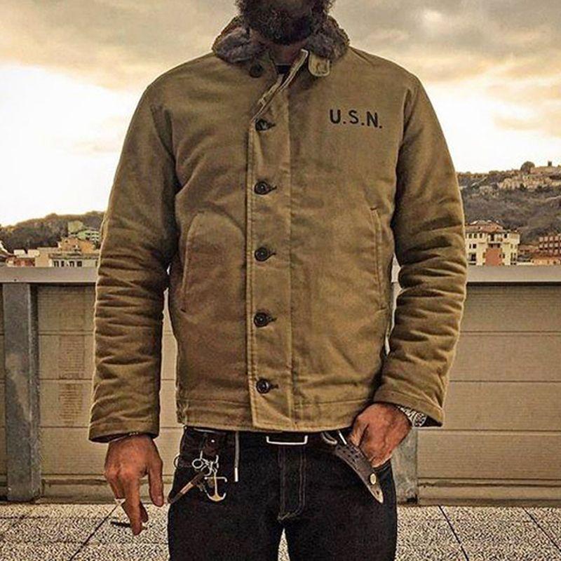 NÃO STOCK Khaki N1 plataforma Jacket USN Vintage militar Uniforme para homem N1