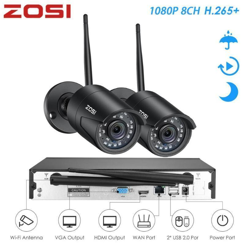 ZOSI H.265 1080P 8CH Wireless Security CCTV Camera System 1080P Wifi Mini NVR Kit Outdoor Video Surveillance Home IP Camera Set1