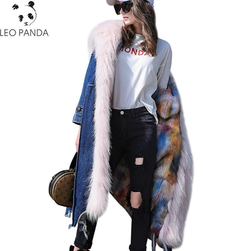 Winter New Fashion Women Thicken Warm High quality Female Pockets Hidden discount Hooded Female Fur Real Faux fur coat CY560