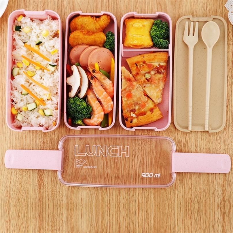 Caixa de almoço de microondas da TUUTH 3 Camada 900ml Caixa de armazenamento de trigo de trigo Salada de frutas de frutas Bento Box Recipiente de alimentos para o escritório da escola 201210