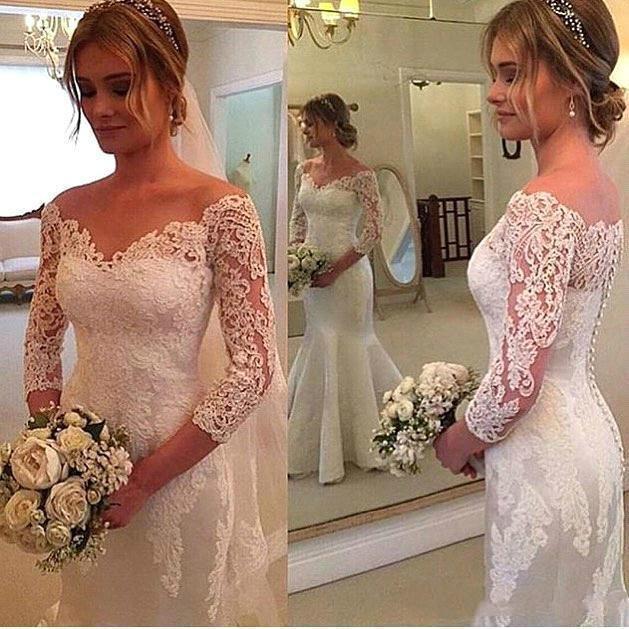 Tamaño de la boda africana más vestidos de Hombro Botón de manga larga de encaje apliques de encaje vestido de novia por encargo barato de la sirena Vestidos Volver